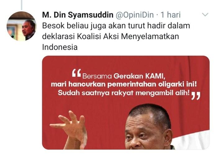 Akun Twitter Din Syamsuddin Ajak Gulingkan Jokowi, Said Didu: Sejak Kemarin Dihack dan Dikendalikan Orang Lain
