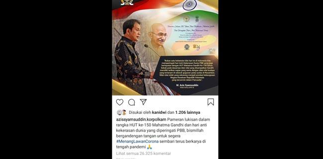Postingan Azis Syamsuddin di Instagramnya yang dikomentari ribuan netizen