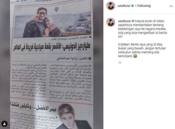 Koran Mesir Beritakan Sandiaga Uno, Respons Ustadz Yusuf Mansur Jadi Sorotan