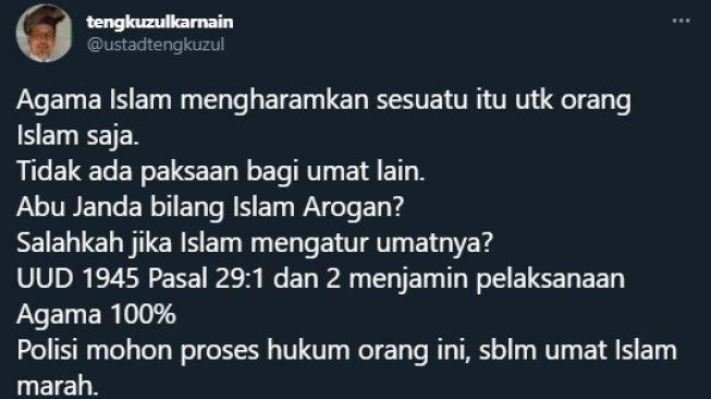 Abu Janda Sebut Islam Arogan, Tengku Zul Minta Ma'ruf Amin Kerahkan Polisi