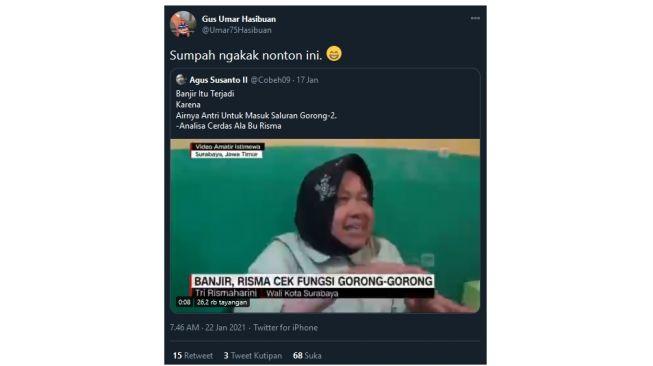 Risma Sebut Banjir Akibat Air Antri Masuk Selokan, Gus Umar: Sumpah Ngakak!