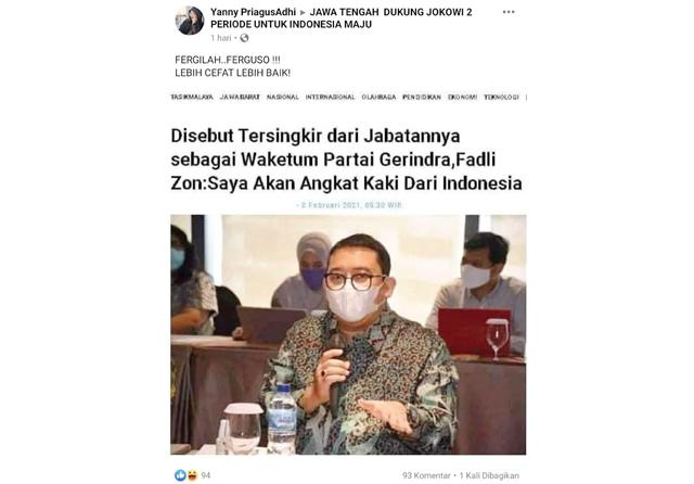 Hoax Fadli Zon Tersingkir dari Jabatan Waketum Gerindra