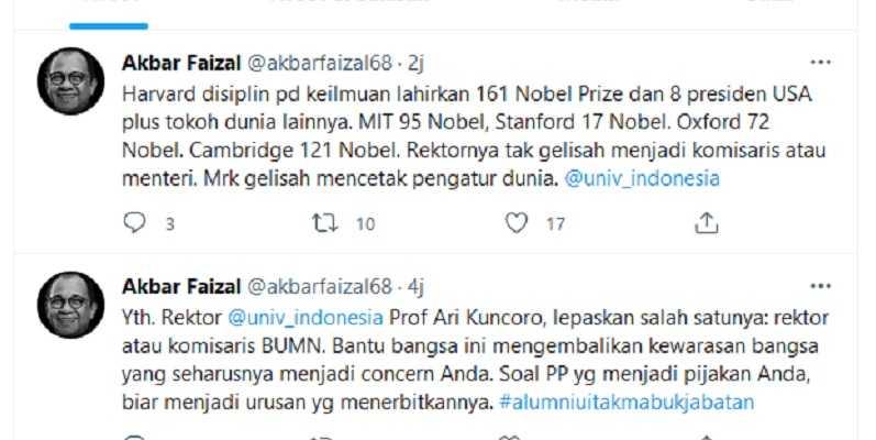 Bandingkan UI Dan Harvard, Akbar Faizal Sarankan Prof. Ari Kuncoro Pilih Rektor Atau Komisaris BUMN