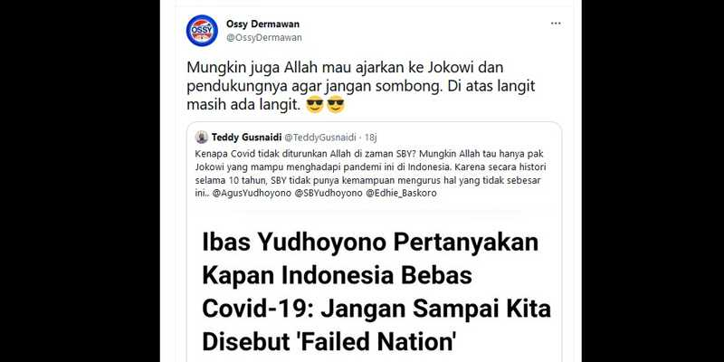 Kenapa Covid Tidak Di Zaman SBY? Demokrat: Mungkin Juga Allah Mau Ajarkan Jokowi Dan Pendukungnya Agar Jangan Sombong