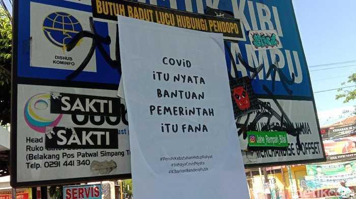 Selebaran Kritik PPKM Nyebar: 'COVID Itu Nyata-Bantuan Pemerintah Fana'