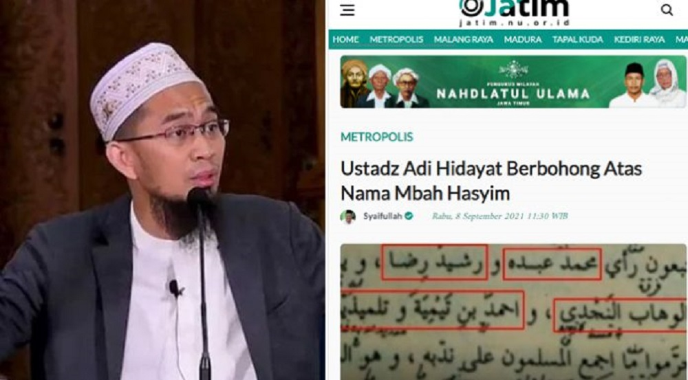 Ustadz Adi Hidayat Dituding Tak Jujur, Warga NU: Dia Men-skip Tulisan Mbah Hasyim Soal Ajaran Menyimpang M Abdul Wahab