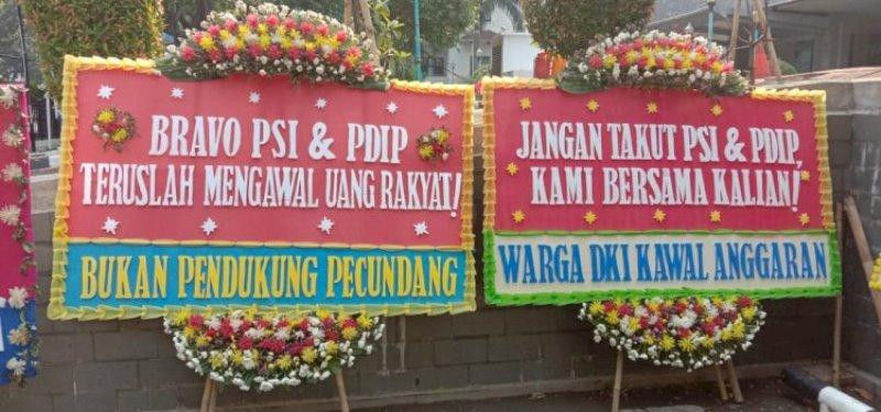 Rakyat Susah, Pendukung PSI dan PDIP Malah Banjiri DPRD Jakarta dengan Karangan Bunga