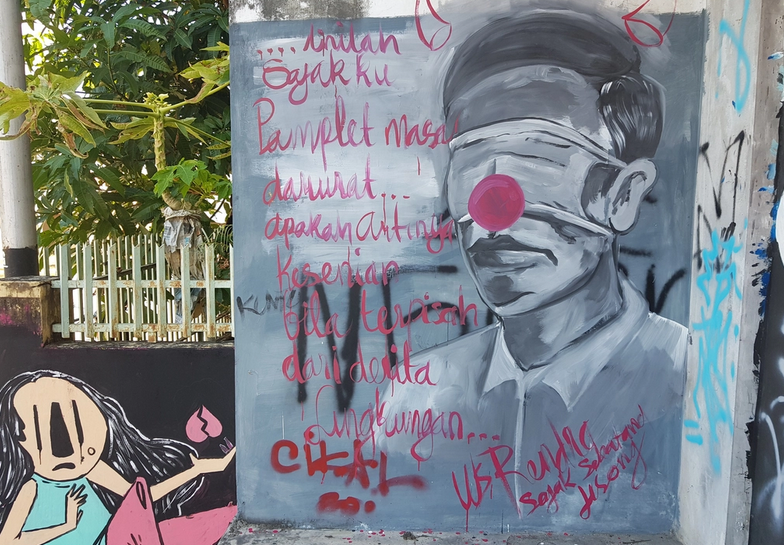 Mural Mirip Presiden Jokowi dengan Kepala Bertanduk di Pangkalpinang
